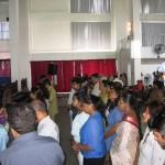 People at altar at Calvary Church SL