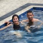 Pr Daniel and daughter Shannen swimming in SL