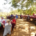 Enjoying lunch at jungle army camp