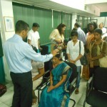 Praying for people at Dilmah Tea Company