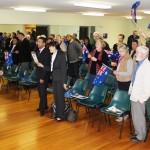 Singing Australian National Anthem at Kyabram Campaign Meeting