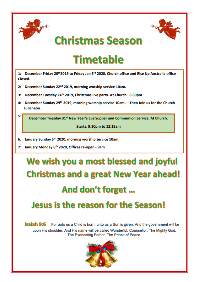 Back of Christmas flyer
