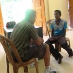 Interviewing children at feeding program