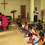 Ps Daniel having lunch with the children