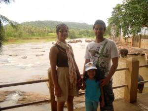 Nigel, Shannen and Brianna with elephants bathing
