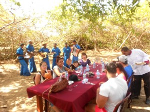 Army band entertainment during lunch at jungle camp