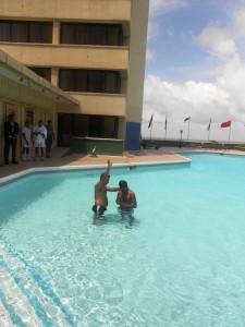 Baptism in swimming pool